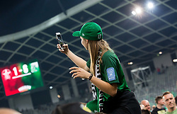 Supporter of Olimpija taking selphie after winning during football match between NK Aluminij and NK Olimpija Ljubljana in the Final of Slovenian Football Cup 2017/18, on May 30, 2018 in SRC Stozice, Ljubljana, Slovenia. Photo by Vid Ponikvar / Sportida