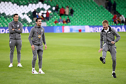 England's James Maddison (right) and Ben Chilwell play a game of keepy uppy with a piece of chewing gum prior to the Nations League match at Benito Villamarin Stadium, Seville.