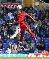 Photo: Mark Stephenson.<br /> Birmingham City v Coventry City. Coca Cola Championship. 01/04/2007.Coventry's Isaac Osbourne heads the ball
