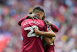 May 27, 2019 - London, England, United Kingdom - Anwar El Ghazi (22) of Aston Villa celebrates with his teammates after scoring a goal to make it 1-0 during the Sky Bet Championship match between Aston Villa and Derby County at Wembley Stadium, London on Monday 27th May 2019. (Credit: Jon Hobley | MI News) (Credit Image: © Mi News/NurPhoto via ZUMA Press)