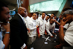 Oklahoma Sooners players participate in a magic show at Media Day on Thursday, Dec. 26, in Atlanta. LSU will face Oklahoma in the 2019 College Football Playoff Semifinal at the Chick-fil-A Peach Bowl. (Jason Parkhurst via Abell Images for the Chick-fil-A Peach Bowl)