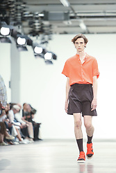 June 8, 2019 - London, England, United Kingdom - A model presents a new Spring/Summer 2020 JORDANLUCA collection during London Fashion Weak Men's in the old Truman's Brewery show space in London on the June 8, 2019. (Credit Image: © Dominika Zarzycka/NurPhoto via ZUMA Press)