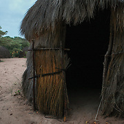 Hut in in the Kalahari Desert in Botswana.