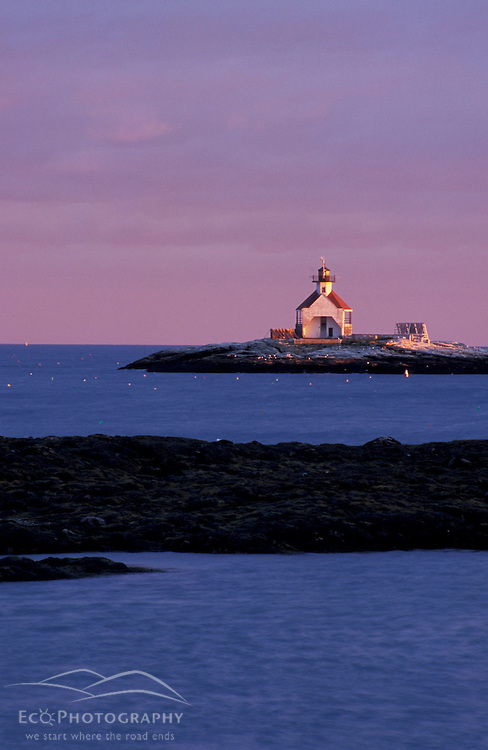Southport Island, ME.. Cuckolds Lighthouse as seen from the southern end of Southport Island.  Boothbay Harbor