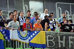 Fans of Bosnia at friendly match between Macedonia and BIH for Adecco Cup 2011 as part of exhibition games before European Championship Lithuania on August 6, 2011, in SRC Stozice, Ljubljana, Slovenia. (Photo by Urban Urbanc / Sportida)