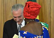 25.04.2018 - BRASÍLIA, DF -  A embaixadora de Gana, senhora Abena Pokua Adompim Busia durante cerimônia de apresentação de cartas credenciais de novos embaixadores no Palácio do Planalto em Brasília (DF), nesta quarta-feira (25). O presidente Michel Temer esteve presente. ( Foto: RENATO COSTA / FRAMEPHOTO )