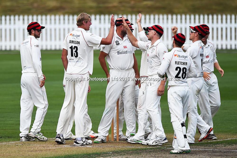 Canterbury players celebrate a wicket that bowler Kyle Jamieson took during their Plunket Shield cricket game Central Stags v Canterbury. Saxton Oval, Nelson, New Zealand. Sunday 14  February 2016. Copyright Photo: Chris Symes / www.photosport.nz