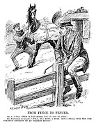 "From Fence to Fencer. Mr A J Cook. ""This is the horse you've got to ride."" Mr MacDonald (to himself). ""Well, if I must, I must. But I shall miss the comparative security of my present mount."" (ironic cartoon showing Ramsay MacDonald riding a fence while a horse with Nationalisation Of Mines is readied for him during the InterWar era)"