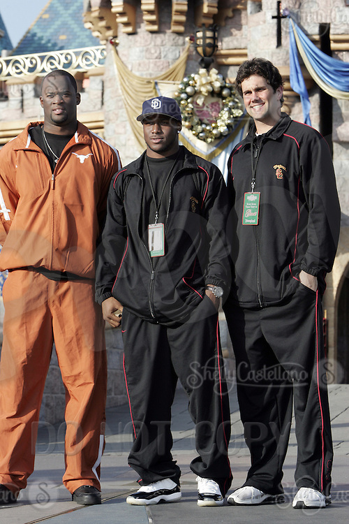 29 December 2005: University of Southern California USC Trojans college football team players Matt Leinart, Reggie Bush and the University of Texas college football team player Vince Young visit Disneyland on Thursday. Both teams will play for the National Championship in the Rose Bowl on January 4, 2006.  2005 Heisman winners and runner