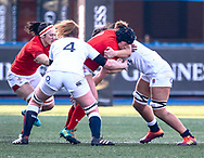 Caryl Thomas of Wales under pressure from Abbie Scott of England<br /> <br /> Photographer Simon King/Replay Images<br /> <br /> Six Nations Round 3 - Wales Women v England Women - Sunday 24th February 2019 - Cardiff Arms Park - Cardiff<br /> <br /> World Copyright © Replay Images . All rights reserved. info@replayimages.co.uk - http://replayimages.co.uk