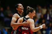 Temalisi Fakahokotau and Nicola Mackle of the Tactix celebrate the win at the final whistle. 2017 ANZ Premiership netball match, Northern Stars v Mainland Tactix at the Vodafone Events Centre, Auckland, New Zealand. 4 June 2017 © Copyright Photo: Anthony Au-Yeung / www.photosport.nz