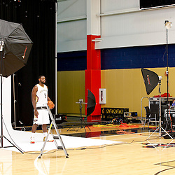 Sep 30, 2013; Metairie, LA, USA; NBA photographer Layne Murdoch photographs New Orleans Pelicans point guard Tyreke Evans (1) during media day the at Pelicans Practice Facility. Mandatory Credit: Derick E. Hingle-USA TODAY Sports