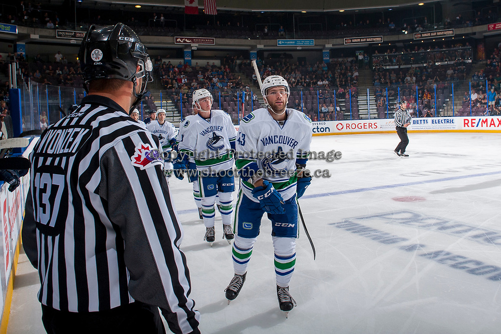 PENTICTON, CANADA - SEPTEMBER 8: Johah Gadjovic #43 and Kole Lind #78 of Vancouver Canucks skate to the bench to celebrate a goal against the Winnipeg Jets on September 8, 2017 at the South Okanagan Event Centre in Penticton, British Columbia, Canada.  (Photo by Marissa Baecker/Shoot the Breeze)  *** Local Caption ***