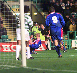 "CELTIC V INVERNESS CALEY PIC:SCHOFIELD.CALEY'S 2ND GOAL CELE SCORED BY MANN..The team is also famous for its Scottish Cup victories over Celtic in 2000 and winning 3-1 at Celtic Park, resulting in the headline ""Super Caley Go Ballistic Celtic Are Atrocious"" in The Scottish Sun..©2010 Michael Schofield. All Rights Reserved."