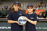 ANZ Future Captains McKenzie Campbell, age 12, and Ava Johnston, age 12, ahead of the ANZ Premiership netball match - Magic v Pulse played at Claudelands Arena, Hamilton, New Zealand on Sunday 20 May 2018.<br /> <br /> Copyright photo: © Bruce Lim / www.photosport.nz