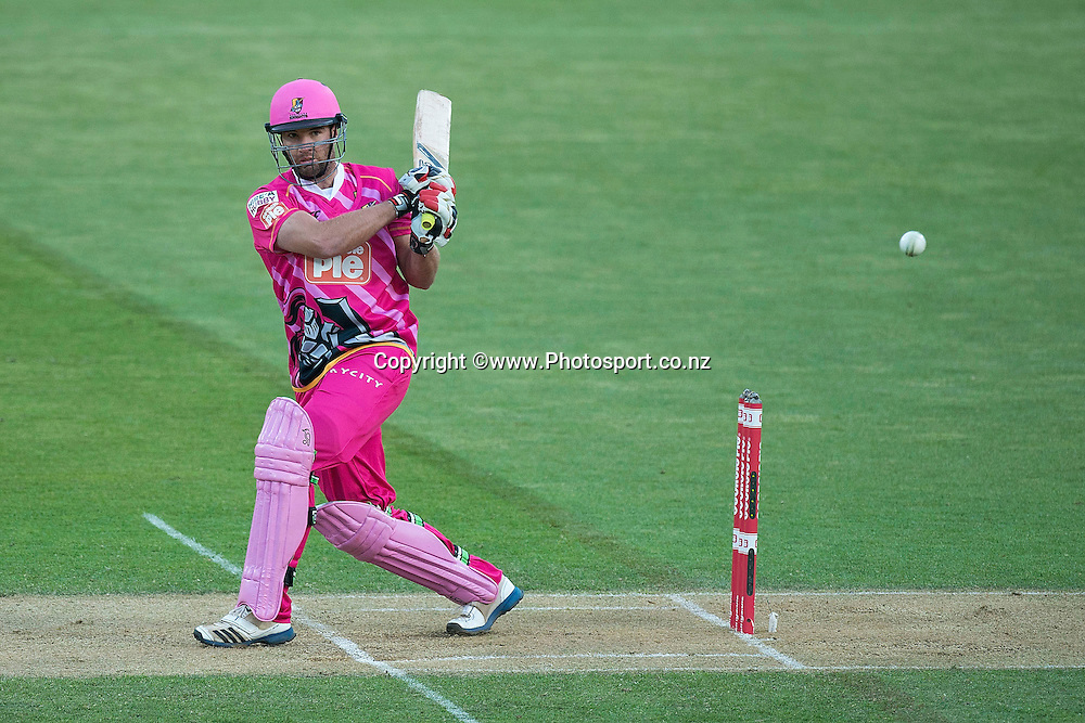 Brad Wilson of the Knights bats during the Georgie Pie Super Smash Volts v Knights cricket match at the Westpac Stadium in Wellington on Sunday the 23rd of November 2014. Photo by Marty Melville/www.Photosport.co.nz