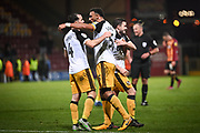 Leon Legge of Port Vale FC celebrates with his team mates after the EFL Sky Bet League 2 match between Bradford City and Port Vale at the Utilita Energy Stadium, Bradford, England on 22 October 2019.