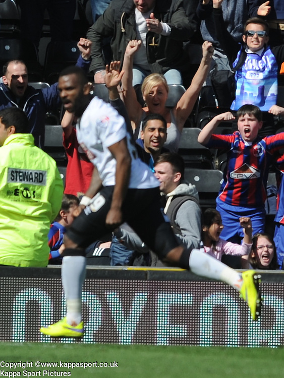 Derby Darren Bent Celebrates after scoring Derby Equalier Goal  in Extra Time, Derby County, Derby County v Brentford, Sky Bet Championship, IPro Stadium, Saturday 11th April 2015. Score 1-1,  (Bent 92) (Pritchard 28)<br /> Att 30,050