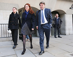 Rebekah and Charlie Brooks leaving the Phone hacking trial at the Old Bailey in London on Thursday, 27th February 2014. Picture by Stephen Lock / i-Images