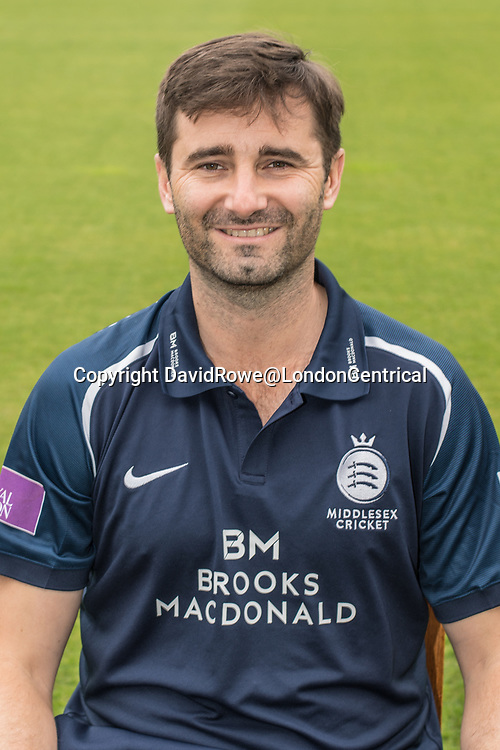 11 April 2018, London, UK.  Tim Murtagh of Middlesex County Cricket Club in the   blue Royal London one-day kit . David Rowe/ Alamy Live News