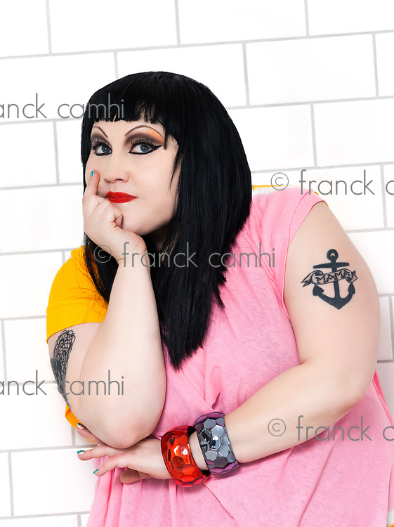 London, UK - January 31, 2012: beth ditto portrait of the pop group gossip in a bathroom at London, UK on january 31th, 2012
