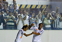 20120202: SAO PAULO, BRAZIL - Player Ibson from Santos team celebrate with teammate Neymar goal during match against Oeste Team for Campeonato Paulista held at Arena Barueri, SP, Brasil <br /> PHOTO: CITYFILES