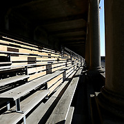 The bleachers in the stands are seen prior to the game at Harvard Stadium on May 17, 2014 in Boston, Massachuttes. (Photo by Elan Kawesch)