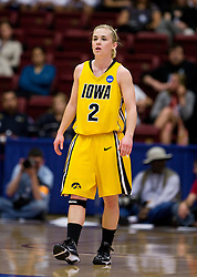 March 20, 2010; Stanford, CA, USA; Iowa Hawkeyes guard Kamille Wahlin (2) during the second half against the Rutgers Scarlet Knights in the first round of the 2010 NCAA womens basketball tournament at Maples Pavilion.  Iowa defeated Rutgers 70-63.