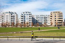 View of Gleisdreieck Park with modern new luxury apartment blocks  in Berlin, Germany
