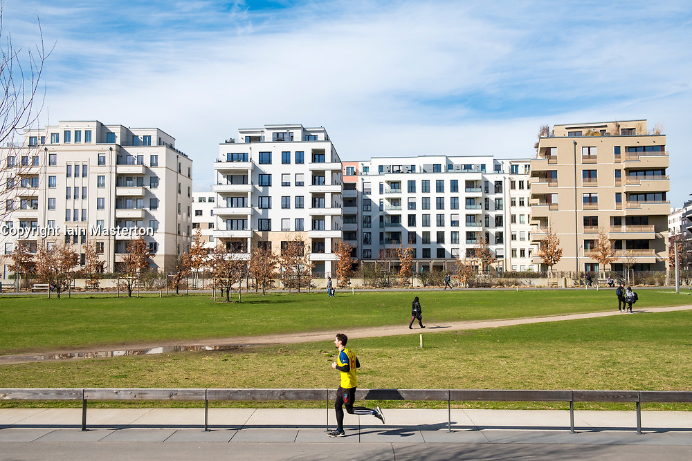 View of Gleisdreieck Park with modern new luxury apartment blocks  in Berlin, Germany