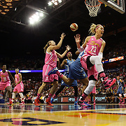 Katie Douglas, Connecticut Sun, reacts after a foul was called on her challenge during the Connecticut Sun Vs Minnesota Lynx, WNBA regular season game at Mohegan Sun Arena, Uncasville, Connecticut, USA. 27th July 2014. Photo Tim Clayton