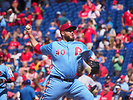 June 14, 2018 - Philadelphia, PA, U.S. - PHILADELPHIA, PA - JUNE 14: Philadelphia Phillies Pitcher Tommy Hunter (40) throws a pitch during the MLB baseball game between the Philadelphia Phillies and the Colorado Rockies on June 14, 2018 at Citizens Bank Park in Philadelphia, PA. The Phillies won 9-3. (Photo by Andy Lewis/Icon Sportswire) (Credit Image: © Andy Lewis/Icon SMI via ZUMA Press)