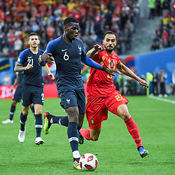 Paul Pogba of France and Nacer Chadli of Belgium during the Semi Final FIFA World Cup match between France and Belgium at Krestovsky Stadium on July 10, 2018 in Saint Petersburg, Russia. (Photo by Anthony Dibon/Icon Sport)