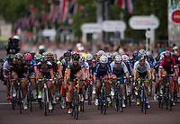 Riders race down The Mall during the Prudential RideLondon Grand Prix Pro Women&rsquo;s Race, during Prudential RideLondon,  2015 Saturday 1st August, 2015. <br /> <br /> Prudential RideLondon is the world&rsquo;s greatest festival of cycling, involving 95,000+ cyclists &ndash; from Olympic champions to a free family fun ride - riding in five events over closed roads in London and Surrey over the weekend of 1st and 2nd August 2015. <br /> <br /> Photo: Jon Buckle for Prudential RideLondon<br /> <br /> See www.PrudentialRideLondon.co.uk for more.<br /> <br /> For further information: Penny Dain 07799 170433<br /> pennyd@ridelondon.co.uk