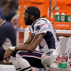 2009 November 30: New England Patriots wide receiver Randy Moss (81) sits on the bench during a 38-17 win by the New Orleans Saints over the New England Patriots at the Louisiana Superdome in New Orleans, Louisiana.