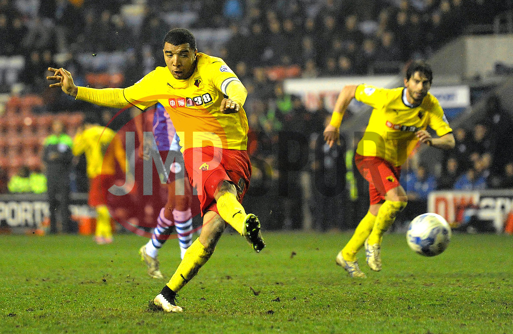 Watford's Troy Deeney scores his team's second goal from a penalty kick - Photo mandatory by-line: Richard Martin-Roberts/JMP - Mobile: 07966 386802 - 17/03/2014 - SPORT - Football - Wigan - DW Stadium - Wigan Athletic  v Watford - Sky Bet Championship