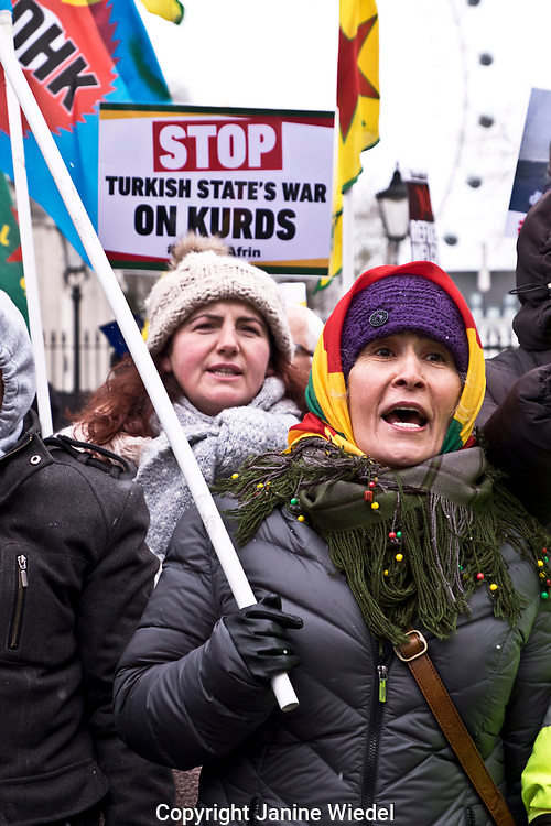 Kurdish men and  women protesting genocide in Afrin in Syria on Stand up against Racism, International demonstration in London to mark UN anti-racism day. March 17 2018