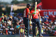 Jos Buttler (WK) reaches his 50 during the International T20 match between South Africa and England at Supersport Park, Centurion, South Africa on 16 February 2020.