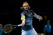 Stefanos Tsitsipas of Greece in action  during the Nitto ATP finals at the O2 Arena, London, United Kingdom on 17 November 2019.