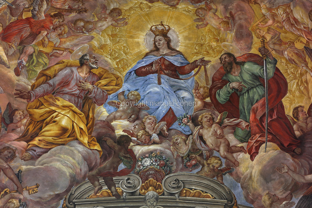 Ceiling fresco of the Virgin descending to Tortosa with St Peter and St Paul to give her girdle to the town, by Dionis Vidal, 1670-1719, in the presbytery of the Capella de la Santa Cinta, built 1672-1725 in Baroque style, in the Cathedral of St Mary, designed by Benito Dalguayre in Catalan Gothic style and begun 1347 on the site of a Romanesque cathedral, consecrated 1447 and completed in 1757, Tortosa, Catalonia, Spain. The cathedral has 3 naves with chapels between the buttresses and an ambulatory with radial chapels. Picture by Manuel Cohen