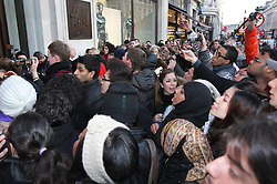 Fans queue up outside  the H&M store in London's Regent Street for the launch of  David Beckham's new Bodywear range, Wednesday 1st February 2012.Photo by: Stephen Lock / i-Images