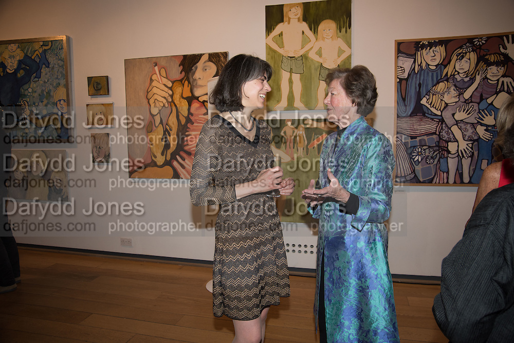 BLANCHE GIROUARD; CATHERINE PORTEOUS, Exhibition opening of paintings by Charlotte Johnson Wahl. Mall Galleries. London, 7 September 2015.