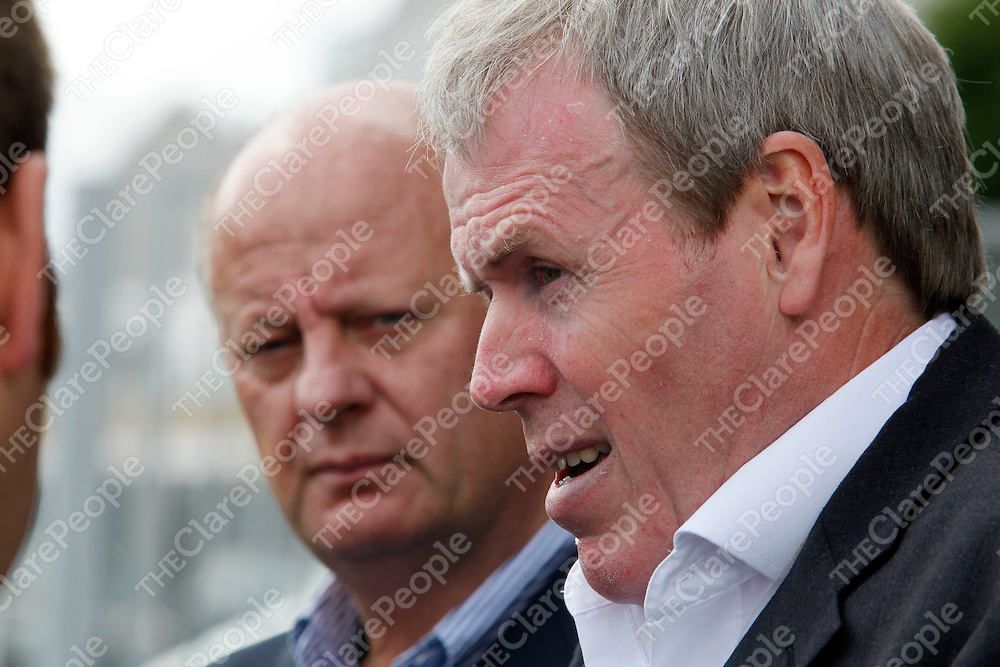 22/07/09<br /> HR Manager, Tadhg O'Halloran and General Manager, Ken Sullivan speak to the media following the announcement at the Element 6 Factory in Shannon, Co. Clare where 370 job losses were announced on Wednesday.<br /> Pic: Don Moloney/Press 22