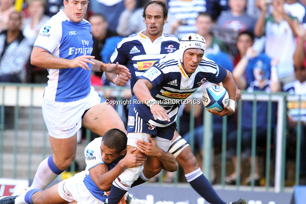 Gio Aplon of the Stormers during the Super 15 match between the DHL Stormers and The Western Force held at DHL Newlands Stadium in Cape Town, South Africa on the 26 March 2011..Photo by Ron Gaunt/SPORTZPICS