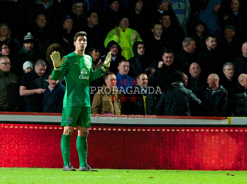 STEVENAGE, ENGLAND - Saturday, January 25, 2014: Everton's goalkeeper Joel Robles in action against Stevenage during the FA Cup 4th Round match at Broadhall Way. (Pic by Tom Hevezi/Propaganda)