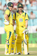 George Bailey of Australia and Phillip Hughes of Australia  during the 2nd One Day International (ODI) match in the Star Sports Series between India and Australia held at the Sawai Mansingh Stadium in Jaipur on the 16th October 2013<br /> <br /> Photo by Ron Gaunt-BCCI-SPORTZPICS<br /> <br /> Use of this image is subject to the terms and conditions as outlined by the BCCI. These terms can be found by following this link:<br /> <br /> http://sportzpics.photoshelter.com/gallery/BCCI-Image-terms-and-conditions/G00004IIt7eWyCv4/C0000ubZaQCkIRgQ