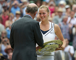 LONDON, ENGLAND - Saturday, July 2, 2011: Petra Kvitova (CZE) is presented with the trophy after winning the Ladies' Singles Final on day twelve of the Wimbledon Lawn Tennis Championships at the All England Lawn Tennis and Croquet Club. (Pic by David Rawcliffe/Propaganda)
