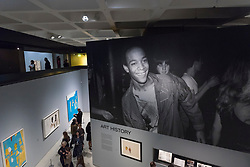 "© Licensed to London News Pictures. 20/09/2017. London, UK. General view of gallery space. Preview of ""Basquiat: Boom for Real"", the first large-scale exhibition in the UK of the work of American artist Jean-Michel Basquiat (1960-1988) taking place at the Barbican Art Gallery, 21 September-28 January 2018. Photo credit : Stephen Chung/LNP"