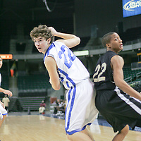 Blue Jay Guard Jordan Stapp (22) and UCity guard Cody Prince (22) which a ball fly by them.