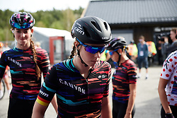 Lisa Klein (GER) makes her way to sign on at Ladies Tour of Norway 2018 Stage 3. A 154 km road race from Svinesund to Halden, Norway on August 19, 2018. Photo by Sean Robinson/velofocus.com